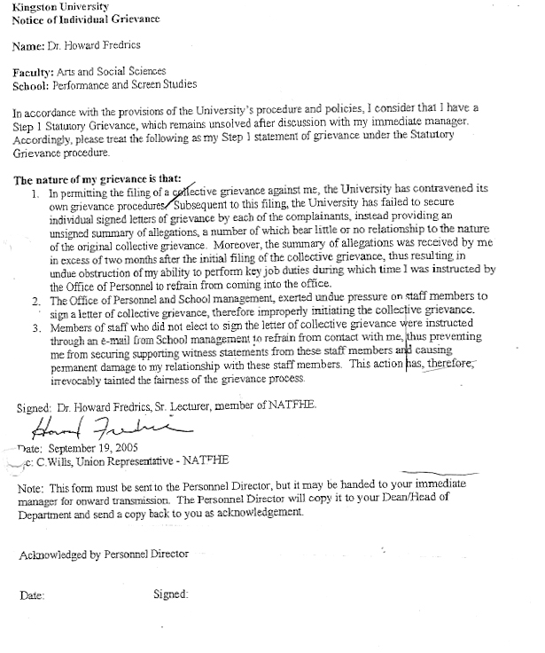 Carol gartrell deputy head school of performance and for Grievance outcome letter template